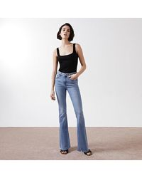 River Island Blue Mid Rise Flare Jean