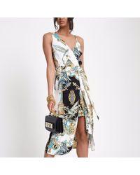 River Island - Yellow Scarf Print One Shoulder Midi Dress - Lyst