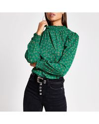 River Island Green Floral Frill Long Sleeve Shirred Top