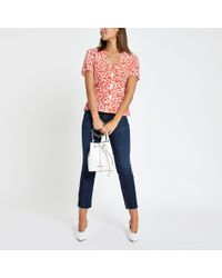 River Island Spot Print Tea Top - Red