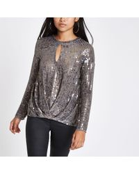 4832492f995ec5 River Island Cream Sequin Embellished Mesh Top in Natural - Lyst