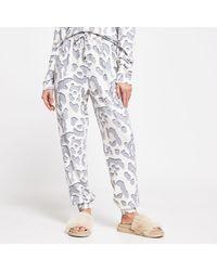 River Island Cream Leopard Print Pyjama Bottoms - Natural