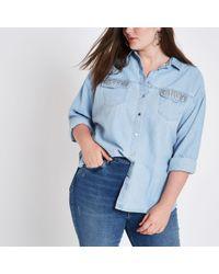 River Island - Plus Light Blue Rhinestone Pocket Denim Shirt - Lyst