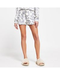 River Island Cream Leopard Print Pajama Shorts - Blue