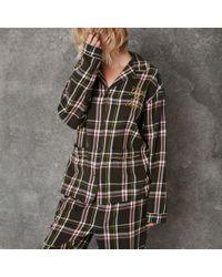 River Island - Green Design Forum Check Pyjama Shirt - Lyst