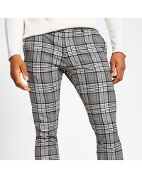 River Island Grey Tartan Check Super Skinny Smart Trousers