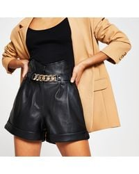 River Island Black Faux Leather Belted Shorts