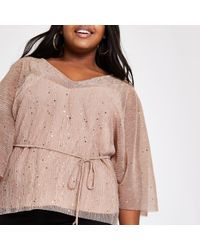 River Island - Plus Pink Plisse Sequin Kimono Sleeve Top - Lyst