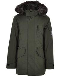 Bellfield - Green Faux Fur Trim Parka Coat - Lyst