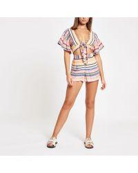 River Island - Pink Stripe Beach Shorts - Lyst