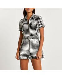 River Island - Black Dogtooth Check Boucle Belted Playsuit - Lyst
