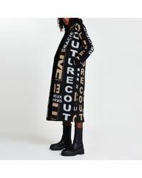 River Island Black 'gracieux Luxe' Print Longline Coat