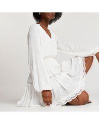 River Island White Broderie Long Sleeve Mini Dress