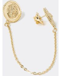 River Island Color Lion Embossed Collar Tips - Metallic