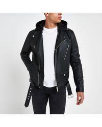 River Island Black Hooded Faux Leather Biker Jacket