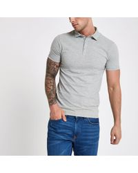 River Island - Grey Essential Muscle Fit Polo Shirt - Lyst