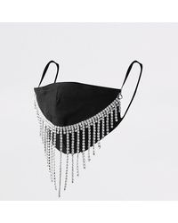 River Island Black Diamante Waterfall Face Covering