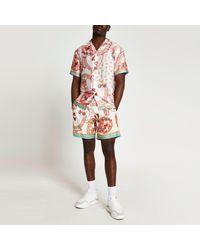 River Island Pink Scarf Print Revere Short Sleeve Shirt