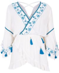 River Island - White Embroidery Tassel Smock Wrap Front Top - Lyst