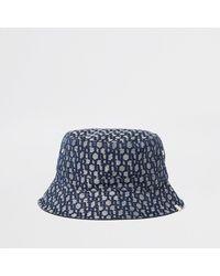 River Island Blue 'ri' Monogram Jacquard Bucket Hat