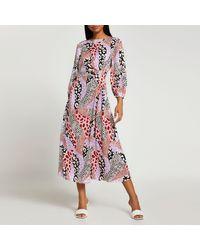 River Island Pink Animal Print Ruched Side Midi Dress