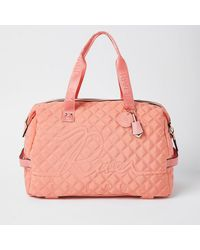 River Island Coral Quilted Gym Bag - Orange