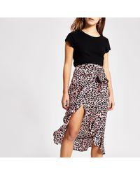 River Island Petite Pink Animal Print Wrap Midi Skirt