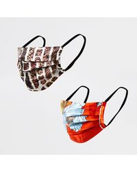 River Island Brown Printed Face Covering Pack Of 2