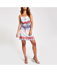 704a3c073 River Island - Pink Tie Dye Cowl Neck Belted Slip Dress - Lyst