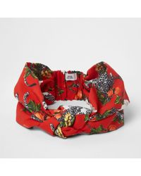 River Island - Red Cheetah Print Knot Front Headband - Lyst