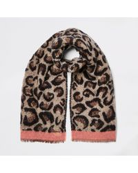 River Island Leopard Print Scarf - Brown