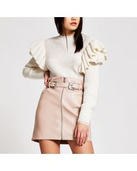 River Island Faux Leather Zip Front Belted Mini Skirt - Pink