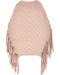 River Island Light Pink Knitted Fringed Halter Neck Top