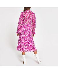 River Island Printed Long Sleeve Smock Midi Dress - Pink