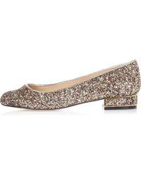River Island Gold Glitter Heeled Ballet Pumps - Metallic