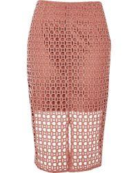 River Island Pink Circle Lace Pencil Skirt