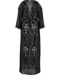 River Island Black Embellished Maxi Kimono
