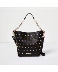 River Island Black Studded Bucket Bag
