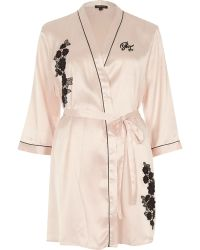 River Island - Blush Pink Floral Appliqué Robe - Lyst