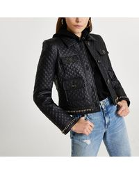 River Island Black Faux Leather Quilted Jacket