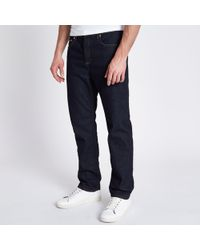 River Island - Dark Blue Bobby Standard Jeans - Lyst