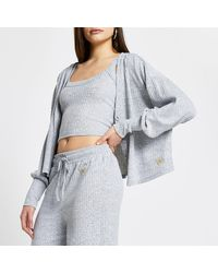 River Island Grey Ribbed Lounge Cardigan And Vest