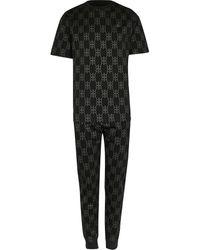 River Island Black Rr Foil Monogram Pajama Set