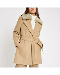 River Island - Light Brown Faux Fur Trim Robe Coat - Lyst