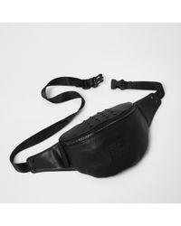 River Island - Black Studded Bum Bag - Lyst