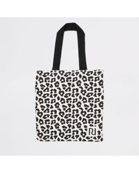 River Island - Leopard Print Shopper Tote Bag - Lyst