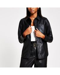 River Island Leather Button Front Shirt - Black