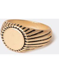 River Island Gold Colour Detailed Signet Ring - Metallic