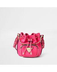 River Island Pink Faux Leather Mini Duffle Bag