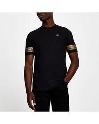 River Island Black Monogram Sleeve Slim Fit T-shirt